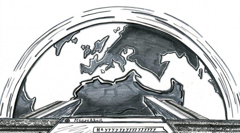 Illustration Raumschiff über Erde mit einem Bildschirm auf dem Heyyy steht